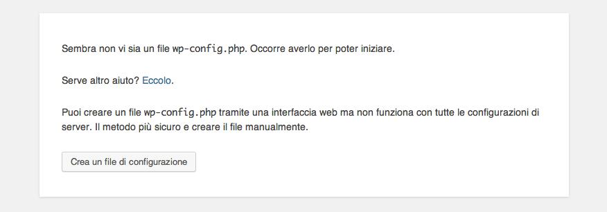 Installare WordPress inizio configurazione