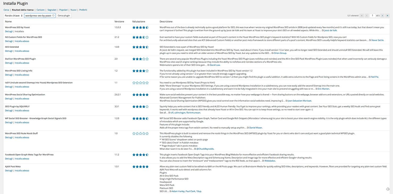 Plugin WordPress - ricerca plugin