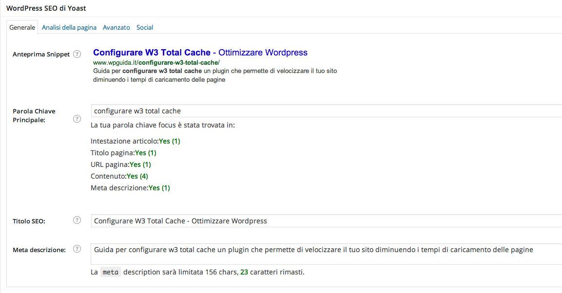 ottimizzazione articoli con wordpress seo by yoast