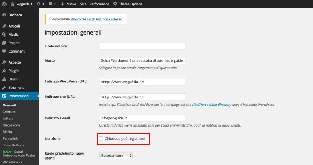Gestione utenti wordpress - abilitare la registrazione degli utenti