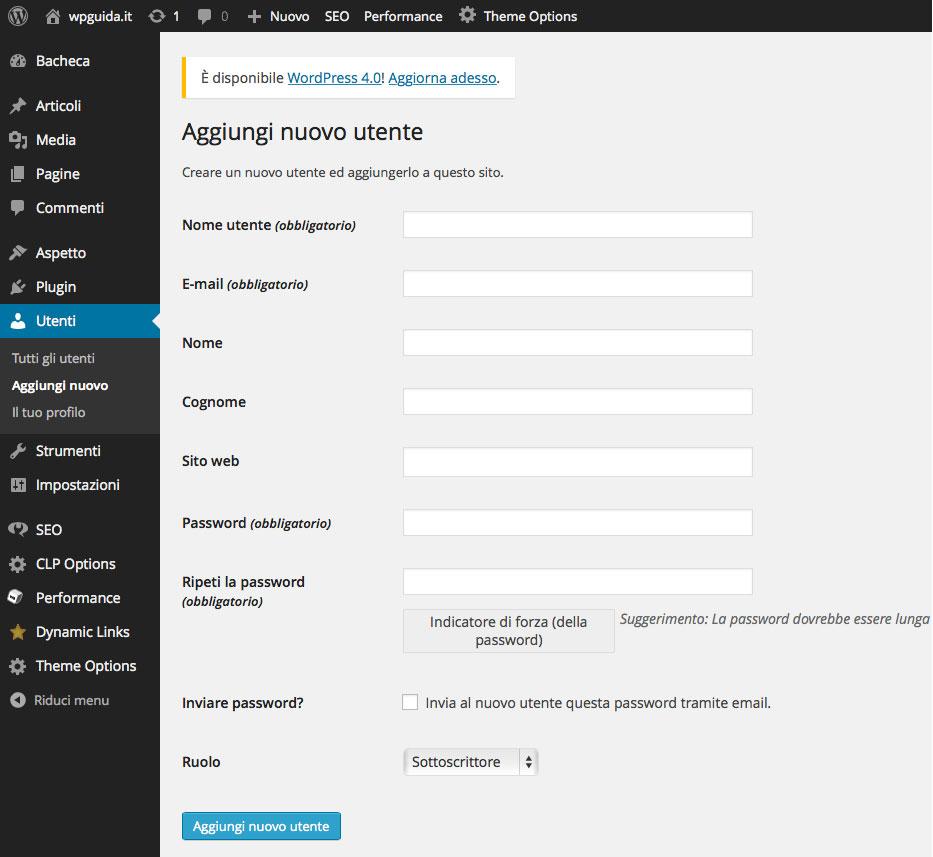 Gestione utenti wordpress - aggiungere un nuovo utente