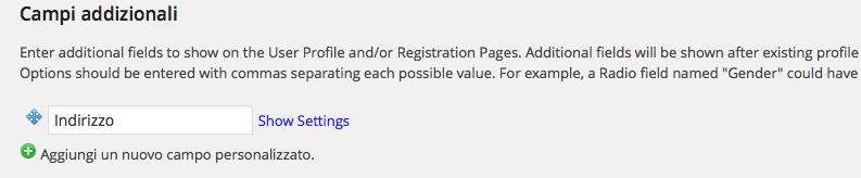 aggiungere campi personalizzati nel form di registrazione di wordpress