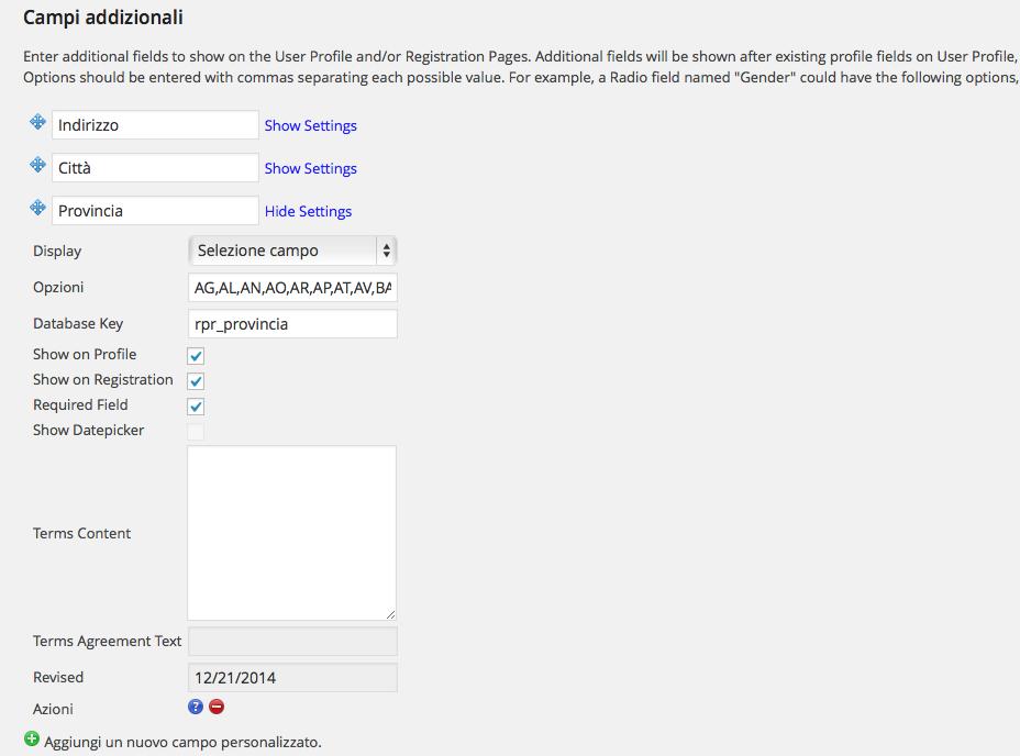 aggiungere campi personalizzati al modulo di registrazione di wordpress