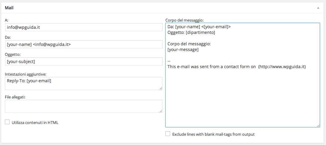 Contact Form 7 - Modulo di contatto