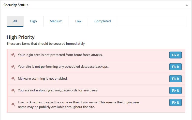 Rendere sicuro wordpress - ithemes security lista dei problemi