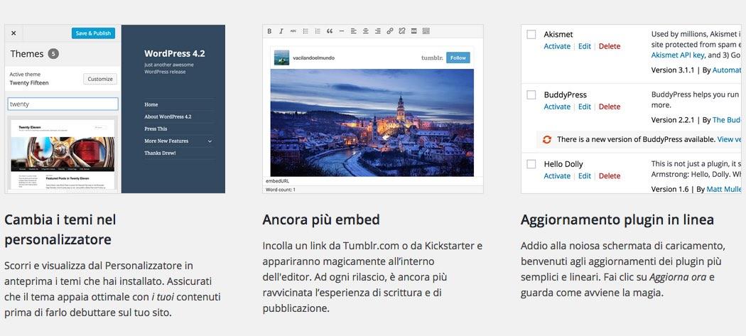 Wordpress 4.2 Changelog - cambiare tema rapidamente