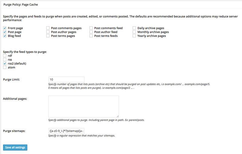 Guida W3 Total Cache - Page Cache purge cache policy