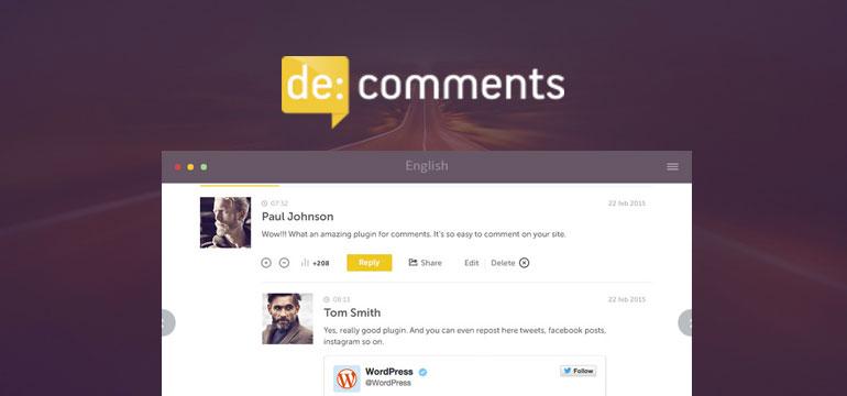 De:comments è un plugin per commenti wordpress che rende social e accattivanti i commenti agli articoli del tuo sito
