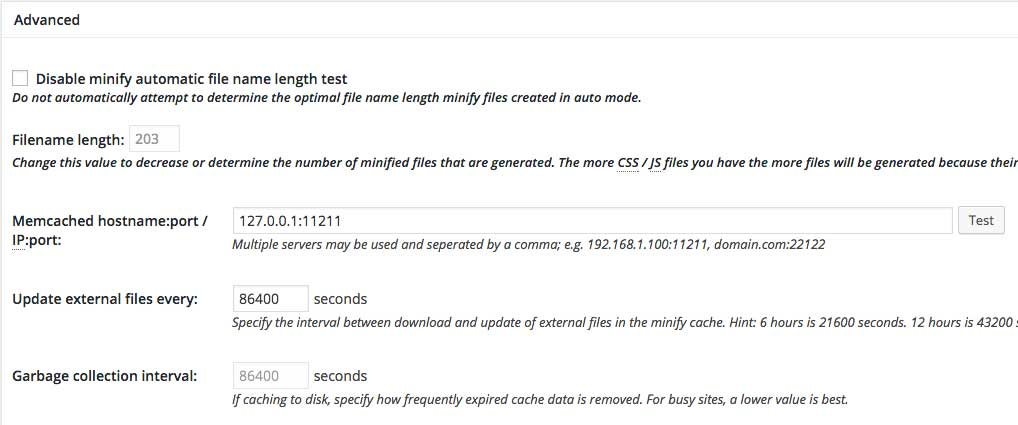 w3 total cache minify - advanced settings