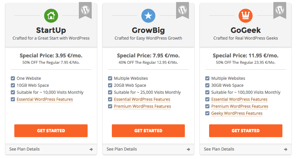 i 3 piani di hosting wordpress di SiteGround