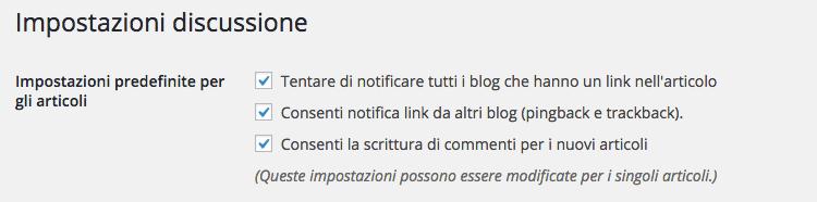 Disabilitare commenti wordpress per i nuovi articoli