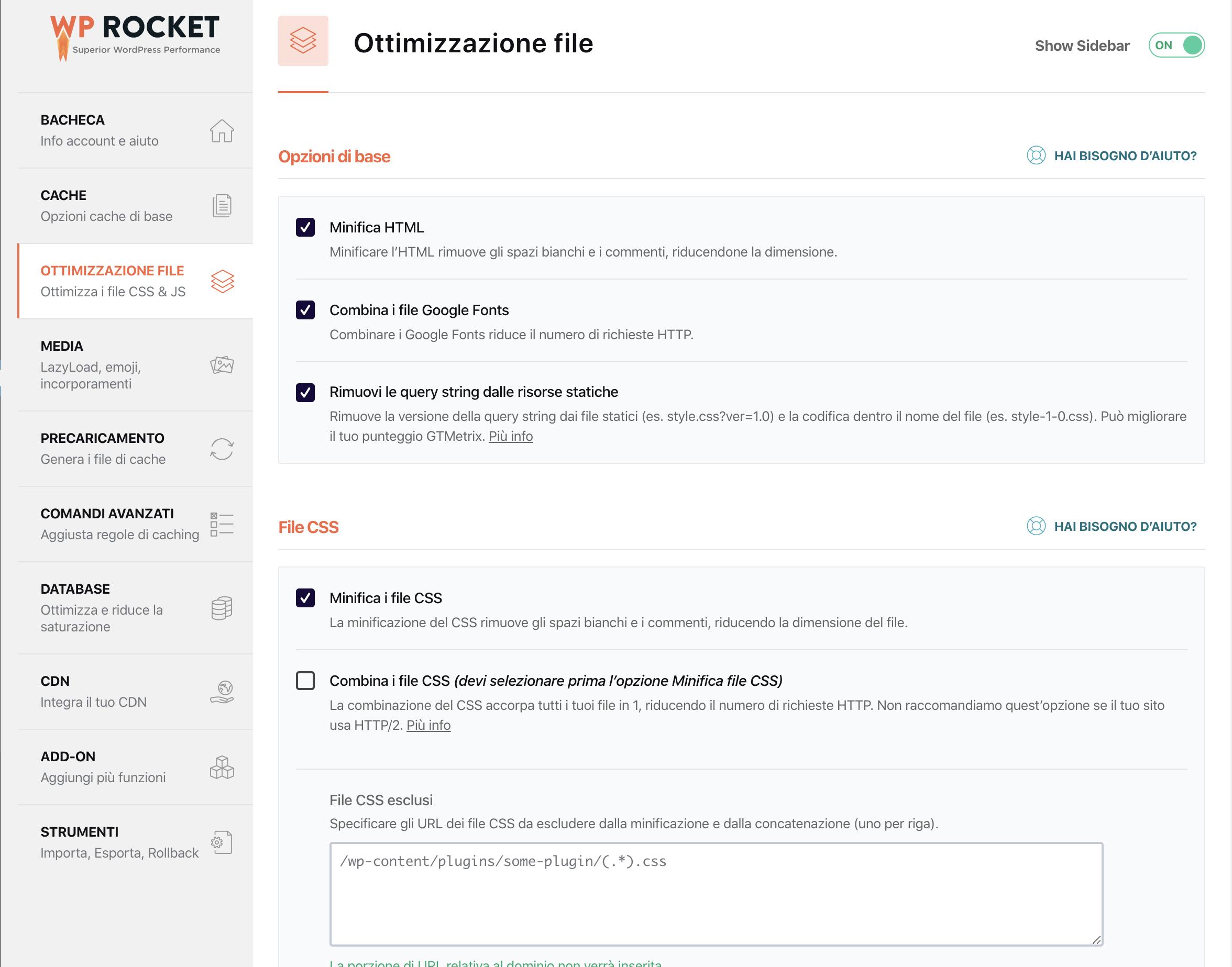configurare wp-rocket ottimizzazione file