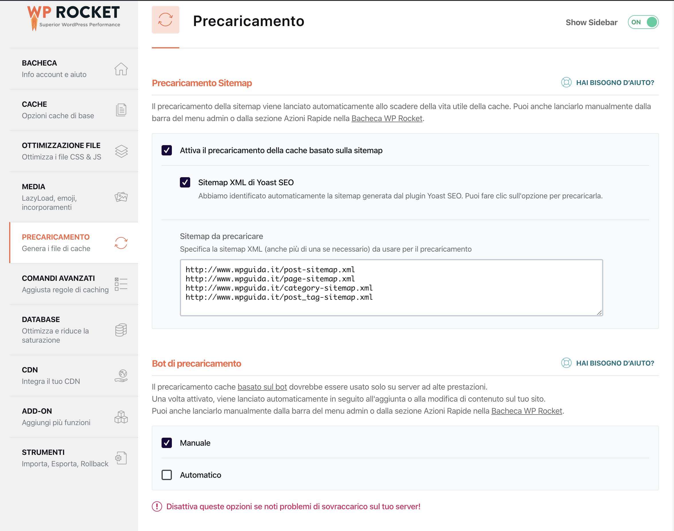 configurare wp-rocket - il precaricamento delle pagine